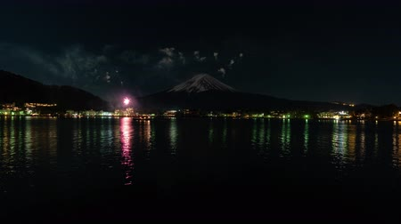 mt : Fireworks and Mt. Fuji at Lake Kawaguchi (time lapse) Stock Footage