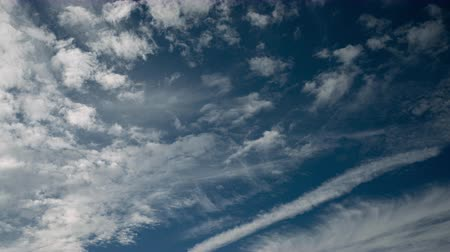 deep autumn : White Clouds in a Blue Sky (time lapsezoom out) Stock Footage