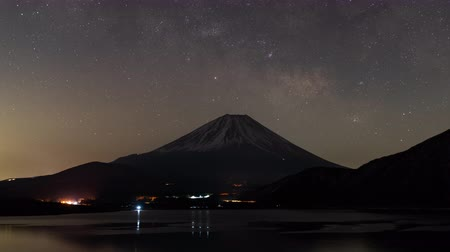 five stars : Mt. Fuji Over Lake Motosu with the Milky Way (time lapsezoom out)