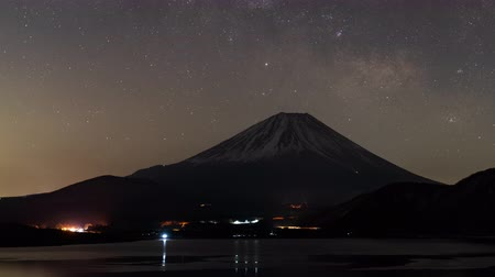 five stars : Mt. Fuji Over Lake Motosu with the Milky Way (time lapsepanning)