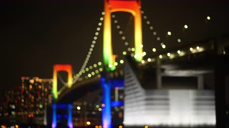 dark bay : Boket Illuminated Bridge (Rainbow Bridge, Tokyo) Stock Footage