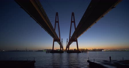 local : Big Cable-stayed bridge at Dawn (Meiko Triton Meiko Nishi Oohashi in Nagoya, Japan)