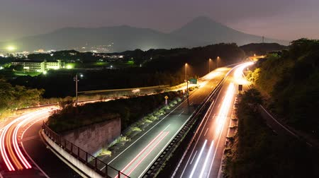 way out : Mt. Fuji Over the Highways at Dusk (time lapsezoom out)