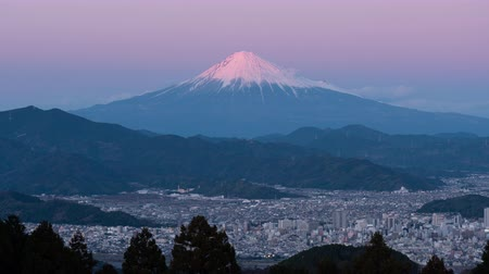 lookout point : Mt. Fuji over the City of Shizuoka Shot at Mt. Mankanho (time lapse)