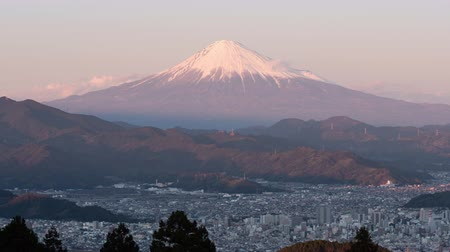 snowcapped : Mt. Fuji over the City of Shizuoka Shot at Mt. Mankanho (time lapsezoom in)