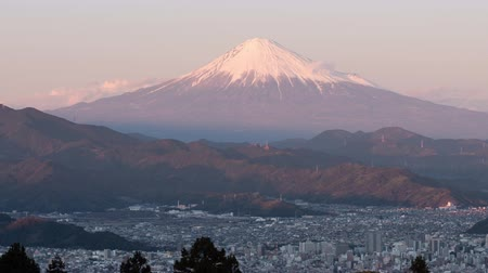 mt : Mt. Fuji over the City of Shizuoka Shot at Mt. Mankanho (time lapsepanning) Stock Footage