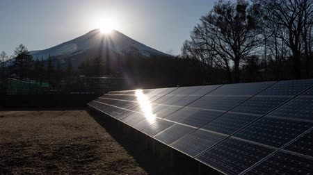 ambientalmente : Diamond Fuji and Solar Panels (Time Lapse) Stock Footage