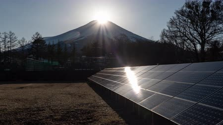 Diamond Fuji and Solar Panels (Time LapsePanning) Stock Footage