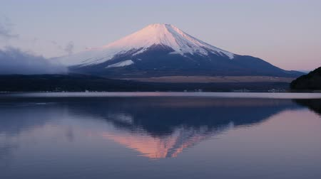 snowcapped : Pink Mt. Fuji Reflected in a Lake at Sunrise