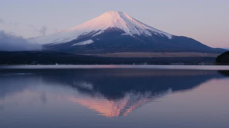 fuji : Pink Mt. Fuji Reflected in a Lake at Sunrise (Zoom In) Stock Footage