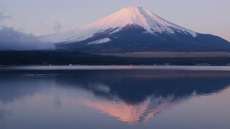 Pink Mt. Fuji Reflected in a Lake at Sunrise (Panning)