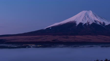 japonya : Mt. Fuji over a Sea of Clouds at DawnSunrise (Time LapsePanning)