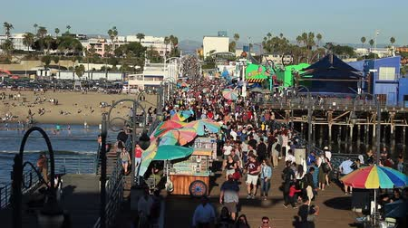 People Pouring onto the Santa Monica Pier