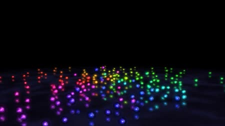 fizik : Colorful Rainbow Marbles - Black Background Stok Video