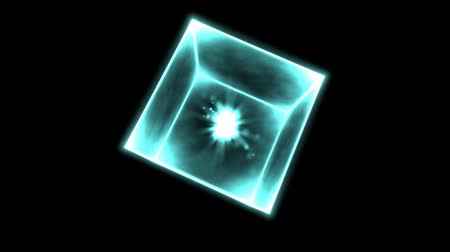 cubos : Rotating Glowing Cube Animation - Loop Blue Stock Footage