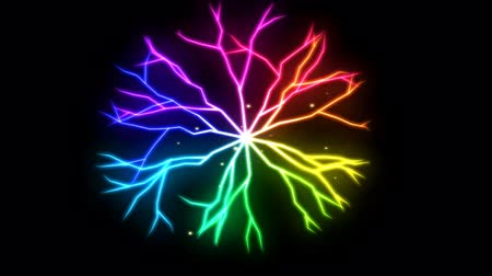 Abstract Lightning Circle, Growing Branches - Rainbow