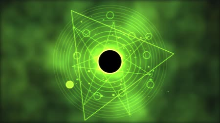 czarodziej : Magic circle, Geometric Background Animation - Loop Green