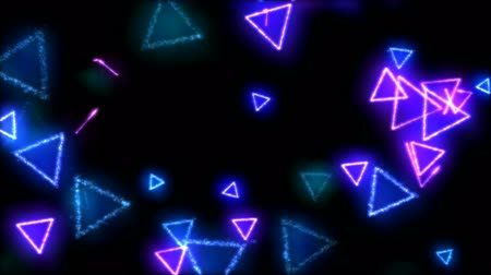 trójkąt : Drawing Triangle Shapes on Black Background Animation - Loop Rainbow