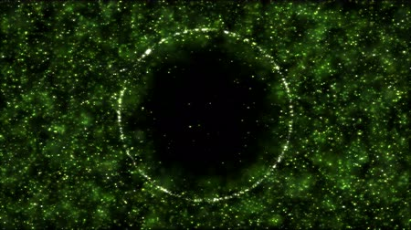pushed : Background Particles Pushed Away By Growing Bubble - Loop Green Stock Footage
