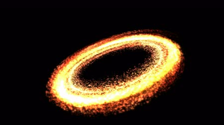 alchemy : Colorful Shining Light Particles in a Ring Shape - Seamless Loop Fiery Orange