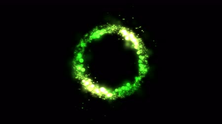 alchemy : Colorful Shining and Rotating Light Particles in a Ring Shape - Seamless Loop Green Stock Footage