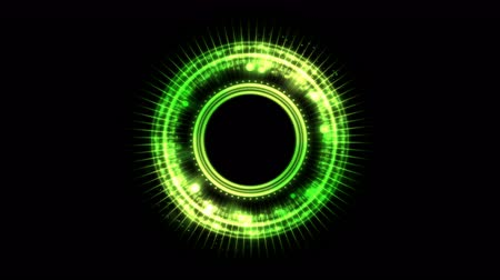 alchemy : Colorful Shining and Rotating Light Circle Pattern - Seamless Loop Green