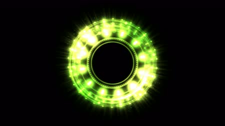 svatozář : Colorful Shining and Rotating Light Circle Shapes - Seamless Loop Yellow Green