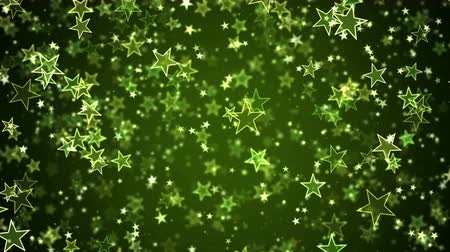 Colorful Animated Falling Shining Stars Particle Background - Loop Green