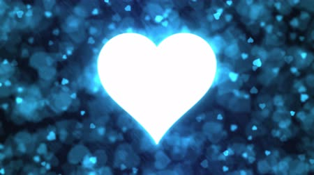 Pulsing Heart Shape and Background Animation - Loop Blue