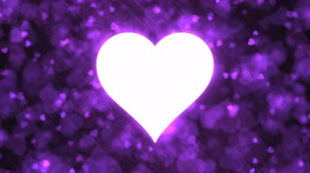 Pulsing Heart Shape and Background Animation - Loop Purple