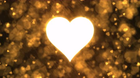endless gold : Pulsing Heart Shape and Background Animation - Loop Golden Stock Footage