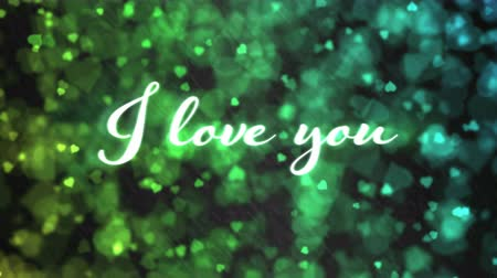 heart beat : Pulsing animated I love you text and Background Animation - Loop Rainbow