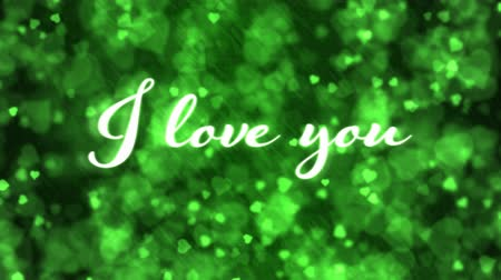 Pulsing animated I love you text and Background Animation - Loop Green