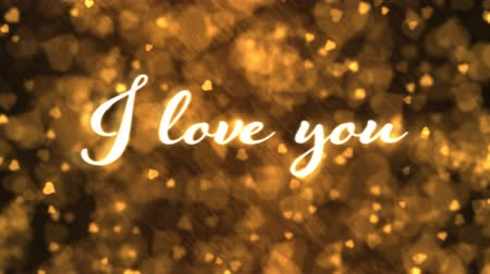 endless gold : Pulsing animated I love you text and Background Animation - Loop Golden Stock Footage