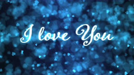 Pulsing animated I love you text and Background Animation - Loop Blue Stock mozgókép