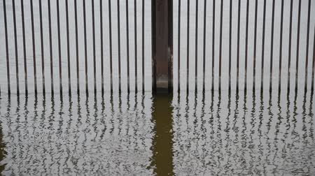żelazko : Waves rise slowly up and down, in and out of an iron gate set in the water of a lake to keep out invasive carp.   The iron bars stand strong and are reflected in the water.
