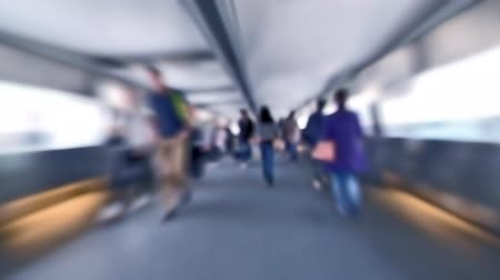 homályos mozgás : Slow motion video of people moving in crowded tunnel at Hong Kong city street traffic. Blur effect