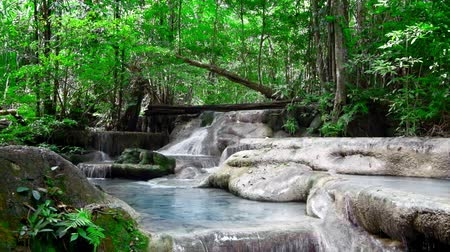 Канчанабури : Jangle landscape with flowing water of Erawan cascade waterfall at deep tropical rain forest. National Park Kanchanaburi, Thailand. With original audio