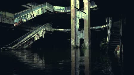 földrengés : Dramatic video of damaged and abandoned shopping mall sunken by rain flood waters
