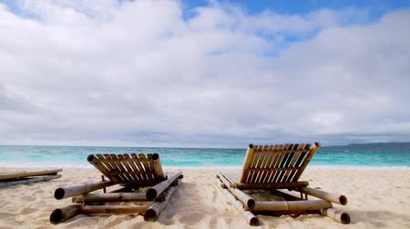 távozás : Amazing tropical beach landscape with chairs for relaxation on sand. Boracay island, Philippines summer vacation