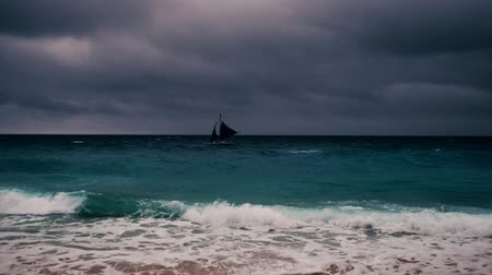 Тихий океан : Stormy ocean landscape with rainy clouds and sail boat in heavy waves Стоковые видеозаписи
