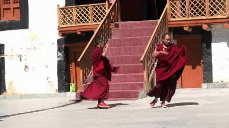 gompa : LIKIR, INDIA - SEPTEMBER 18, 2017: Buddhist monks wearing robes learning Cham Dance in courtyard of main temple of Likir Gompa monastery. Monastics dancing during ritual performance rehearsal.