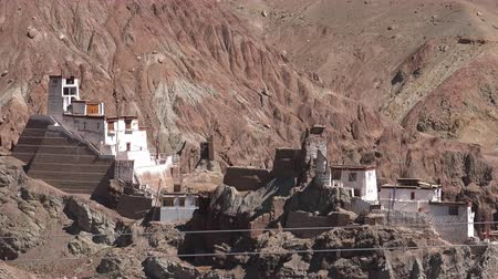 gompa : Ancient Buddhist Basgo monastery and palace surrounded by rocky Himalaya mountains. Spectacular mountainous scenery with Bazgo Gompa buildings on sunny day. Beautiful showplace. Ladakh region, India.