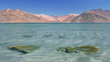Fresh transparent shallow water of Pangong Tso lake covered with ripple against Himalaya mountain range and clear blue sky. Spectacular mountainous landscape. Ladakh, India. Camera stays still.