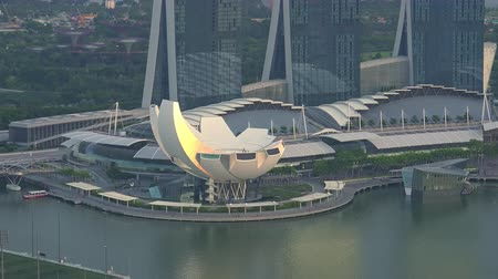 SINGAPORE - OCT 19, 2017: Futuristic building of ArtScience or Lotus Flower Museum against Marina Bay Sands hotel and Supertree Grove of Gardens by the Bay on background. Amazing urban landscape. Stok Video