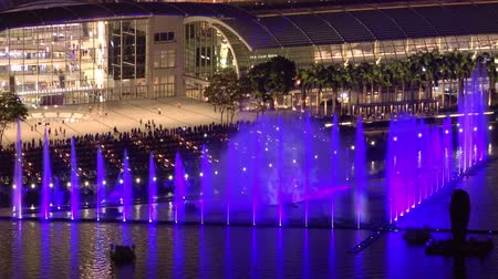 SINGAPORE - OCT 19, 2017: Fantastic daily light show in front of Marina Bay Sands Hotel and Shopping Mall. Beautiful view of tall fountain water changing colors. People enjoying amazing performance Stok Video
