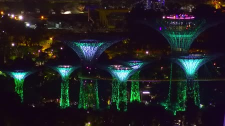 SINGAPORE - OCT 19, 2017: Fantastic night view of Supertree Grove of Gardens by the Bay. Giant futuristic artificial trees illuminated by changing colors. Futuristic scene of  touristic landmark