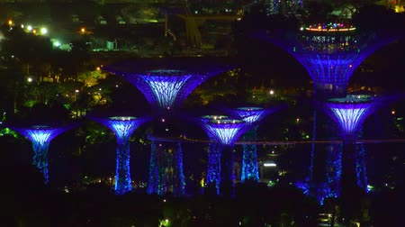 SINGAPORE - OCT 19, 2017: Fantastic night view of Supertree Grove of Gardens by the Bay. Futuristic illumination of Giant artificial trees. Scene of  touristic landmark with sea port on background Stok Video
