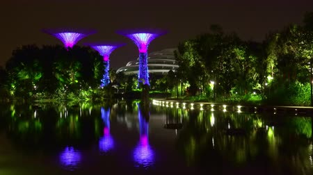 SINGAPORE - OCT 20, 2017: Magnificent view of Dragonfly Lake with Dragonfly Riders art sculptures and fountains against Supertree Grove of Gardens by the Bay with tall artificial trees on background.