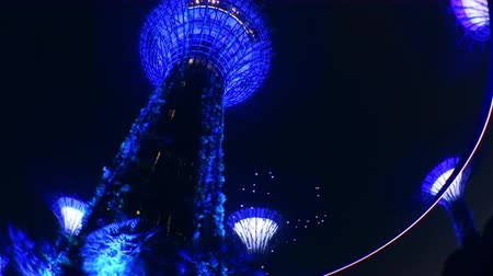 SINGAPORE - OCT 21, 2017: Fantastic night view of Supertree Grove of Gardens by the Bay. Giant futuristic super trees illuminated in dark sky by blue light. Popular touristic landmark panoramic video